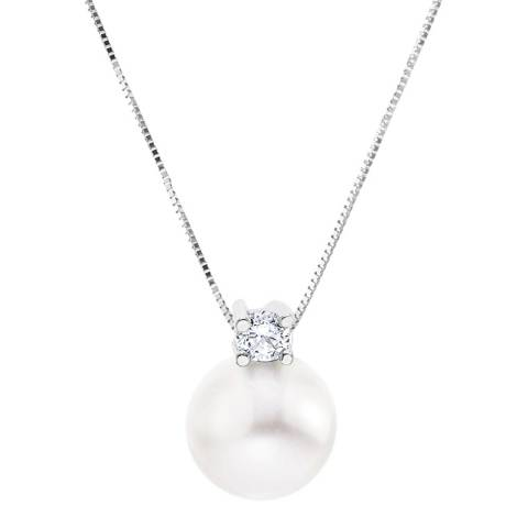 Just Pearl White Freshwater Pearl/Crystal Pendant Necklace