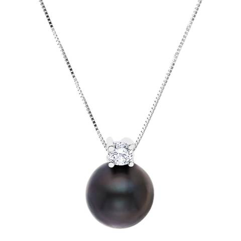 Just Pearl Black Tahitian Pearl and Crystal Pendant Necklace