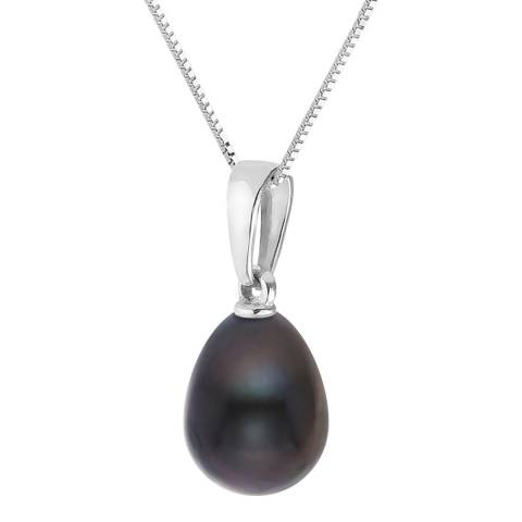 Just Pearl Silver/Black Tahitian Pearl Pendant Necklace 8-9mm