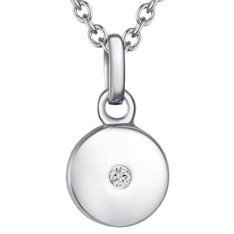 Tess Diamonds Silver Round Disc Shaped Pendant Necklace