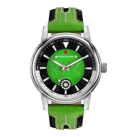 Chrono Diamond Men's Green/Black Leather Nereus Watch