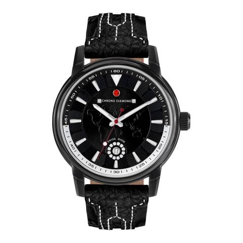 Chrono Diamond Men's Black Leather Nereus Watch