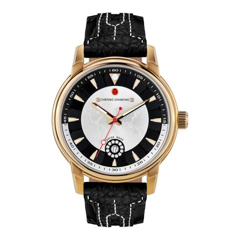 Chrono Diamond Men's Black/Gold Leather Nereus Watch