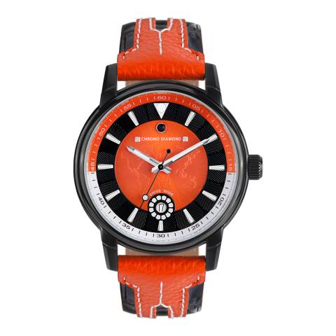 Chrono Diamond Men's Orange/Black Leather Nereus Watch