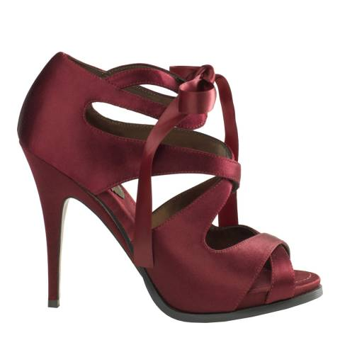 Leon Max Collection Burgundy Satin Evelyn High Heels 13cm