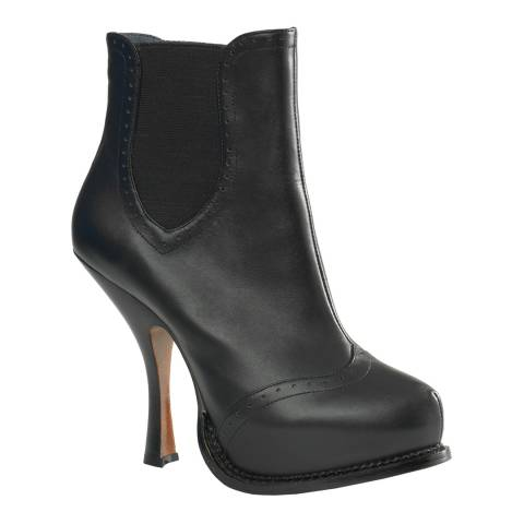 Leon Max Collection Black Leather Adora Platform Boots