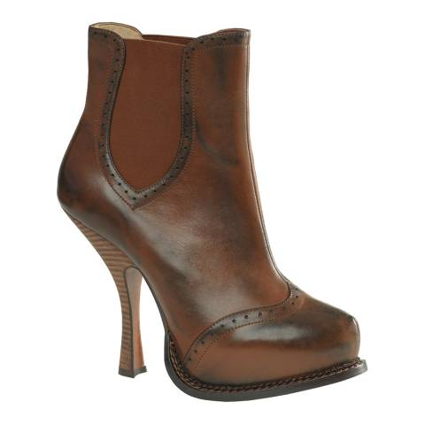 Leon Max Collection Midbrown Leather Adora Platform Boots