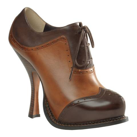 Leon Max Collection Brown Leather Adrian Lace Up Heel
