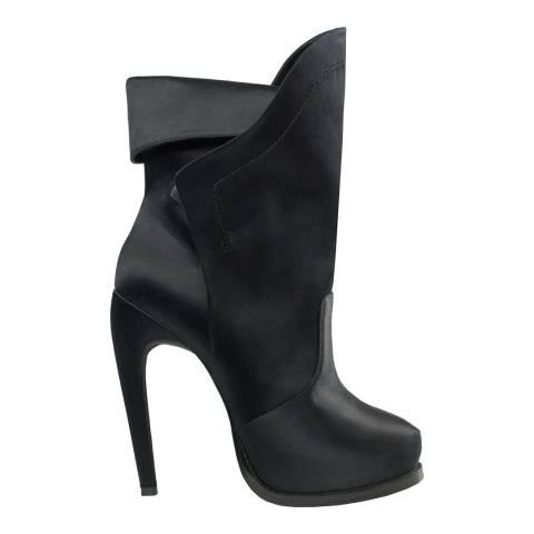 Leon Max Collection Black Satin Aida Boots Heel 11.5cm