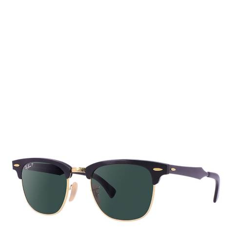 Ray-Ban Unisex Black/Gold Clubmaster Polarized Sunglasses 51mm
