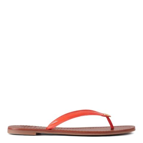 Tory Burch Poppy Red Terra Patent Leather Flip Flops