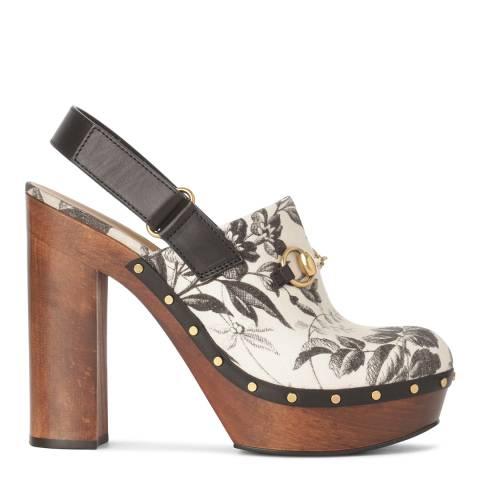 Gucci Brown Leather/Linen Floral Printed Amstel Clog Heel 11cm