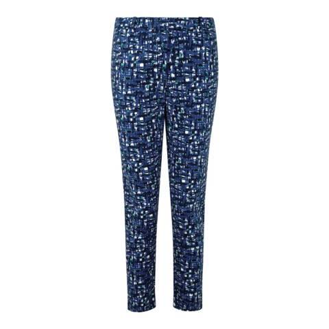 Pure Collection Blue Texture Print Capri Crop Cotton Blend Trousers