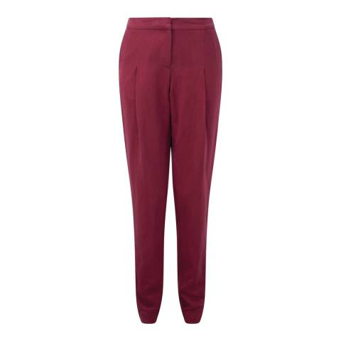 Pure Collection Summer Claret Silk Linen Tapered Leg Trousers
