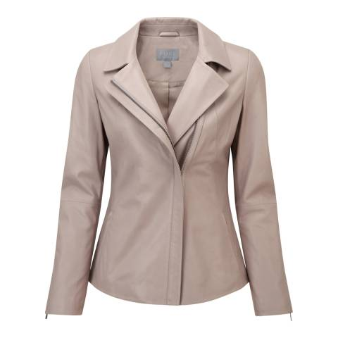 Pure Collection Beige Leather Biker Jacket