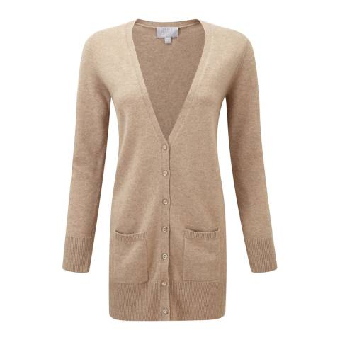 Pure Collection Grey Camel Cashmere Longline Cardigan