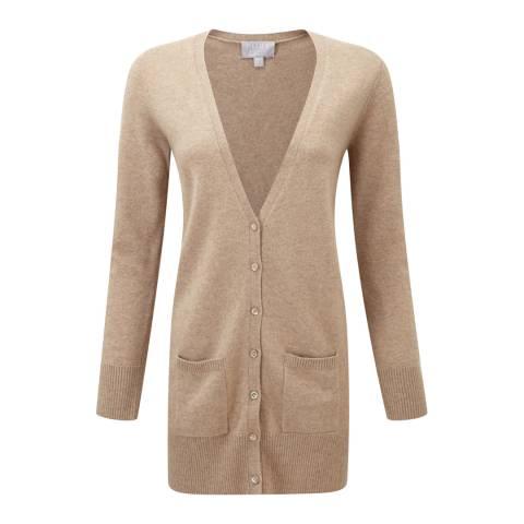 Pure Collection Beige Longline Cashmere Cardigan