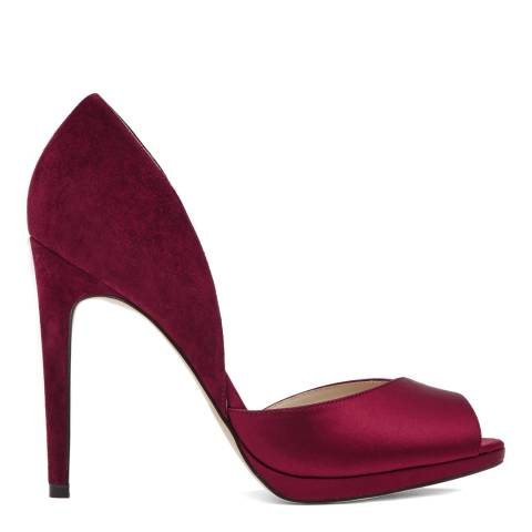 Reiss Bordeaux Red Minuet Contrast Peep Toe Heels