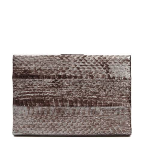 Reiss Brown/Silver Leather Snakeskin Alonso Box Clutch Bag