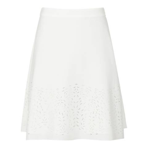 Reiss White Lazer Cut Joelle Skirt