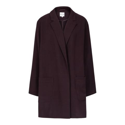 Reiss Deep Red Gia Relaxed Long Line Wool Jacket