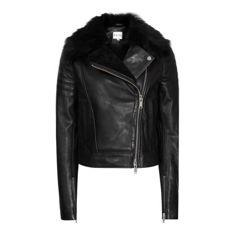 Reiss Black Tilly Leather Biker Jacket