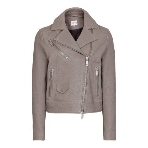 Reiss Grey Textured Favour Leather Jacket