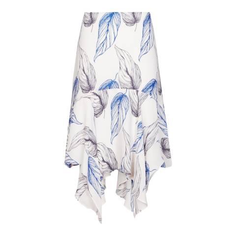 Reiss White/Blue Split Frill Loretta Skirt