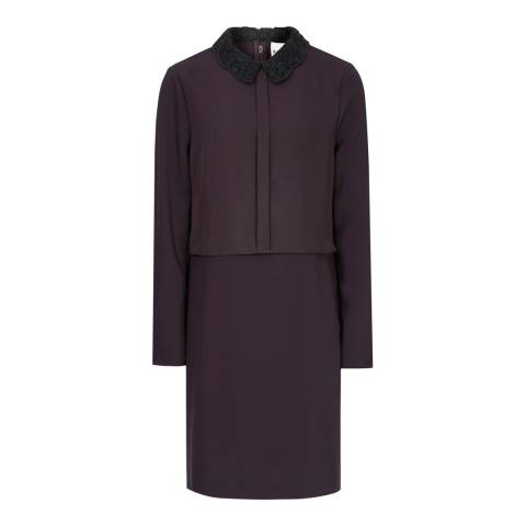 Reiss Deep Berry Lace Sleeve Colville Dress