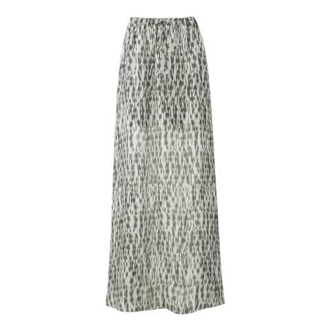 Amanda Wakeley Steel Ford Printed Ripple Silk Skirt