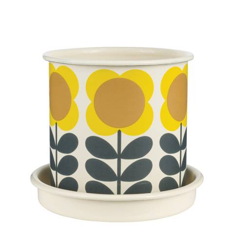 Orla Kiely White/Yellow Big Spot Flower Stem Medium Plant Pot 13cm