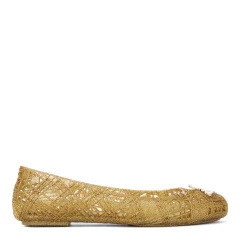 Vivienne Westwood for Melissa Gold Glitter Scribble Orb Flats