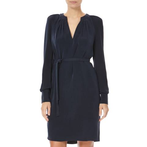 Joseph Navy V Neck A line Silk Shift Dress
