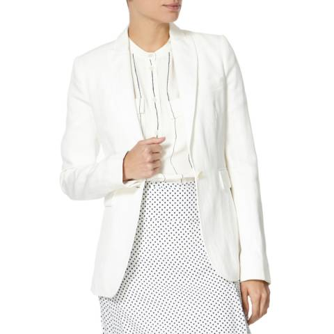 Joseph White Fitted Peplum Cotton Blend Blazer