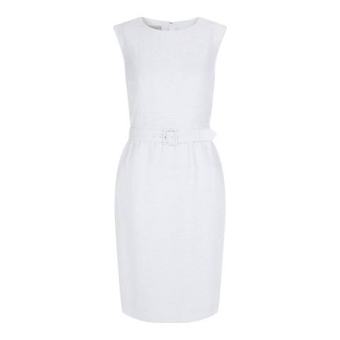 Hobbs London White Farrah Textured Shift Dress