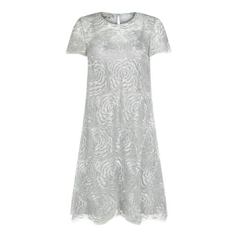 Hobbs London Silver Rose Scalloped Dress