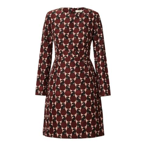 Orla Kiely Maroon Spot the Dog Long Sleeve Dress