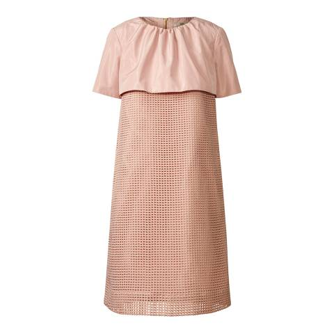 Orla Kiely Pink Grid Eyelet Neck Frill Dress