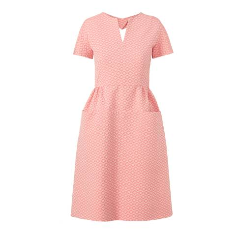 Orla Kiely Pink Flower Spot Jacquard Heart Cut Out Dress