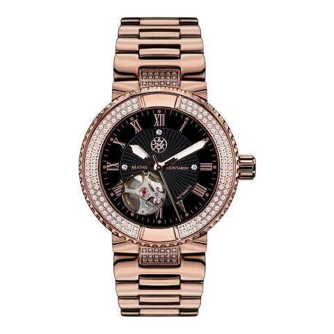 Mathis Montabon Ladies Rose Gold/Black Stainless Steel Reveuse Watch