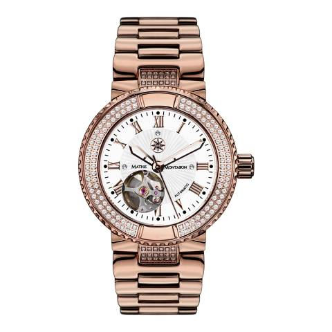 Mathis Montabon Ladies Rose Gold/White Stainless Steel Reveuse Watch