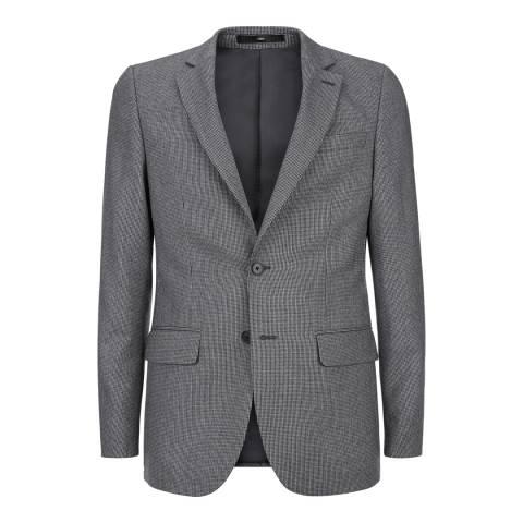 Jaeger Black/White Puppytooth Modern Wool Flannel Jacket