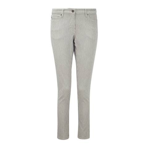 Pure Collection Grey Stripe Cotton Blend Jeans