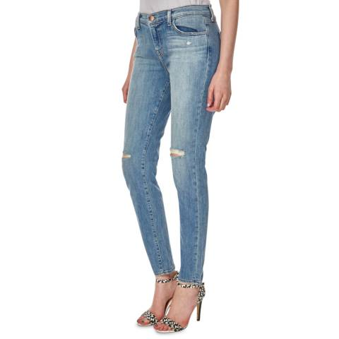J Brand Blue Distressed Jake Low Rise Stretch Skinny Crop Jeans