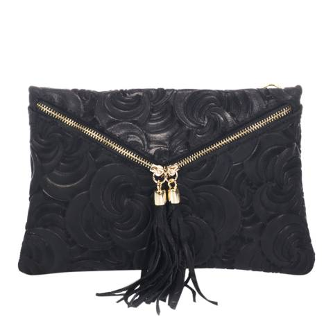 Lisa Minardi Black Leather Textured Clutch Bag