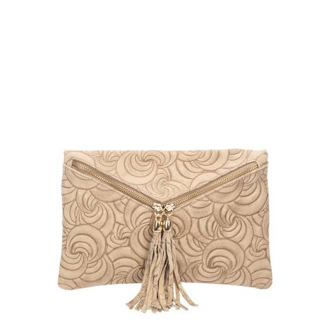 Lisa Minardi Taupe Suede Embossed Clutch Bag