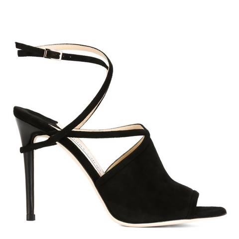 Jimmy Choo Black Suede Flora Open Toe Strappy Stiletto Heels