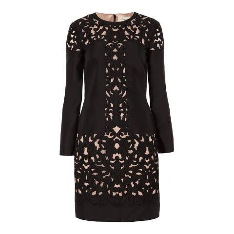 Temperley London Black Mini Luz Cut Out Silk/Cotton Blend Dress