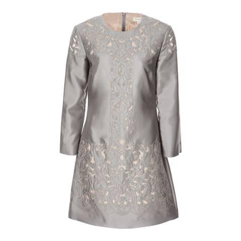 Temperley London Grey Mini Luz Cut Out Silk/Cotton Blend Dress