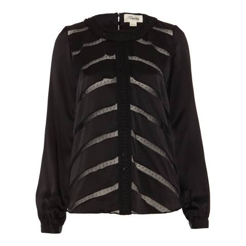 Temperley London Black Cambon Embroidered Silk Blend Top